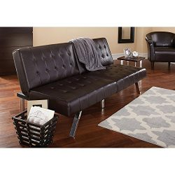 Morgan Faux Leather Tufted Convertible Futon, Brown, Modern Look, Quickly Converts from Sofa to  ...