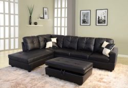 Beverly Fine Furniture F091A Left Facing Russes Sectional Sofa Set with Ottoman, F091A BLACK