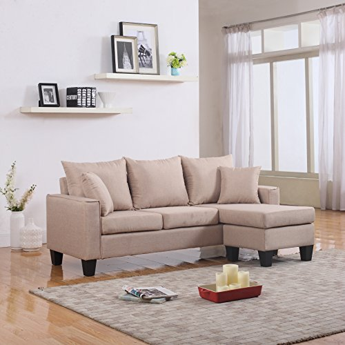 Sectional Sofa Couch Reversible Chaise Ottoman Furniture: Divano Roma Furniture Modern Linen Fabric Small Space
