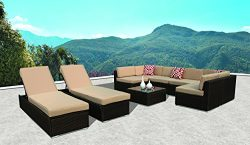 PATIOROMA Outdoor Furniture Sectional Sofa Set (9-Piece Set) All-Weather Brown Wicker with Beige ...