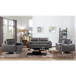 AC Pacific Rachel Collection Ultra Modern Living Room Sofa Set With Sofa, Loveseat and Armchair, ...