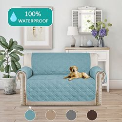 Turquoize 100% Waterproof Loveseat Slipcover Stay In Place Strapless Quilted Furniture Protector ...