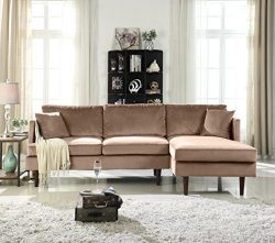 Mid-Century Modern Brush Microfiber Sectional Sofa, L-Shape Couch with Extra Wide Chaise Lounge  ...
