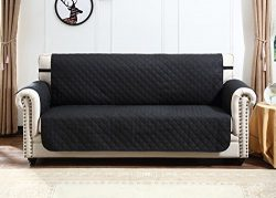Argstar Deluxe Quilted Loveseat Cover Furniture Protector Reversible Black/Gray