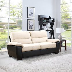 Madison Home Divano Roma Classic Soft Microfiber and Bonded Leather Living Room Furniture (Sofa, ...