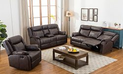 Roundhill Furniture Novia 3PC Leather-Air Living Room Set, Double Recling Sofa and Loveseat and  ...