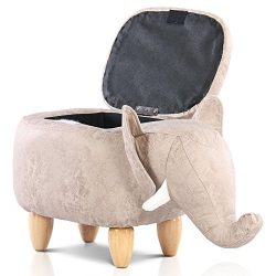 Artechworks Upholstered Ride-on Storage Ottoman Footrest Stool with Vivid Adorable Animal-Like F ...