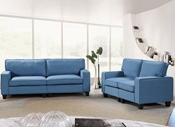Harper&Bright Designs 2 Piece Sofa and Loveseat Set Living Room Sofa Set (Blue)