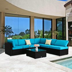 Kinbor Outdoor Furniture Sectional Sofa 7 PCs Rattan Wicker with Blue Washable Seat Cushions &am ...