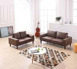 Container Furniture Direct Church Living Room Furniture Set, S5344-2PC, Brown/Tan