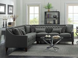 Iconic Home FSA2677-AN Aberdeen Chic Home Linen Tufted Down Mix Modern Contemporary Left Facing  ...
