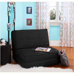 Flip Chair Convertible Sleeper Dorm Bed Couch Lounger Sofa in Rich Black