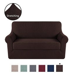 H.VERSAILTEX 2 Separate Pieces Stretching Skid Resistance Slipcover/Furniture Cover for Loveseat ...