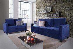 Kings Brand Furniture – 2-Piece Blue Velvet Upholstered Nailhead Sofa & Loveseat Living Room Set