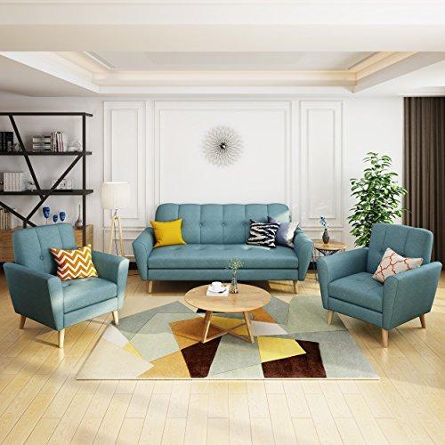 Angelina Mid Century Blue Fabric Sofa Chat Set