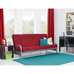 Mainstays Metal Arm Futon with 6″ Mattress – Ruby Red – Home Furniture – ...