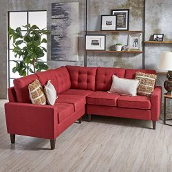 Niya Mid Century Modern Red 3 Piece Sectional Sofa