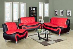 Beverly Fine Furniture F4503-3pc 3 Piece Aldo Modern Sofa Set, BLACK AND RED