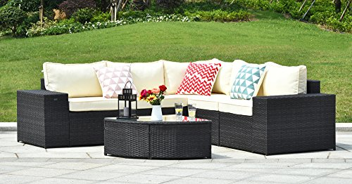 Gotland 6-Piece Set Furniture Sectional Sofa & Glass