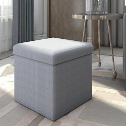 Lifewit Foldable Cube Ottoman Bench with Toy Storage Chest and Footstool Light Blue, 15 x 15 x 1 ...
