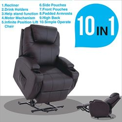 Mecor Electric Power Lift Recliner Chair Comfortable Leather for Elderly with Remote Control,Hea ...