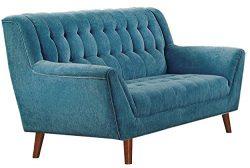 Homelegance Erath Danish Modern Mid Century Loveseat with Tufted Accent, Blue