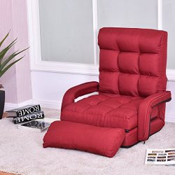 Giantex Folding Lazy Sofa Floor Chair Sofa Lounger Bed with Armrests and a Pillow Lounger Bed Ch ...