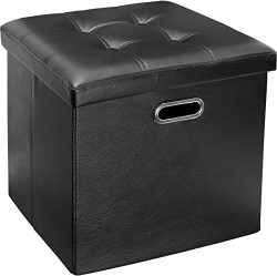 Greenco Faux Leather, Tufted, Ottoman Stool Seat and Foot Rest, Collapsible, Versatile Storage B ...