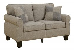 HOMES: Inside + Out IDF-6328LG-LV Eleanor, Loveseat, Light Gray