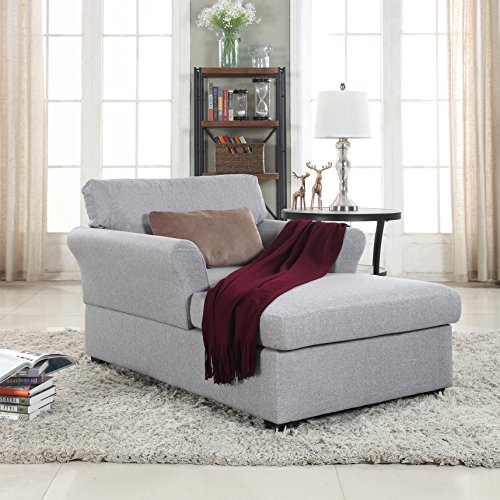Large Classic Linen Fabric Living Room Chaise Lounge ...