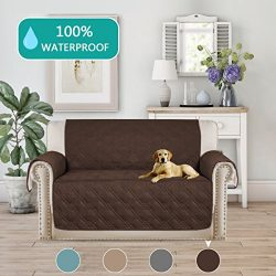 Turquoize Water-Resistant Quilted Furniture Protector Slipcover for Dogs, Kids, Pets Loveseat Sl ...