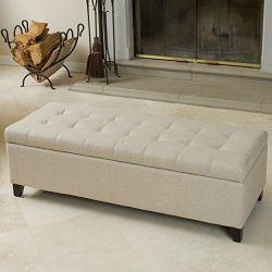 Santa Rosa Beige Tufted Fabric Storage Ottoman