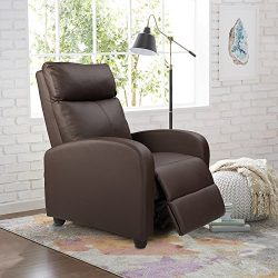 Homall Manual Recliner Chair Padded PU Leather Home Theater Seating Modern Chaise Couch Black Lo ...