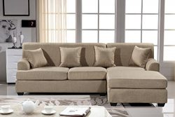 Oliver Smith – Large Light Brown Linen Cloth Modern Contemporary Upholstered Quality Secti ...