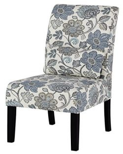 Signature Design by Ashley A3000070 Casual Style Floral Pattern Accent Chair, Sesto Blue Floral