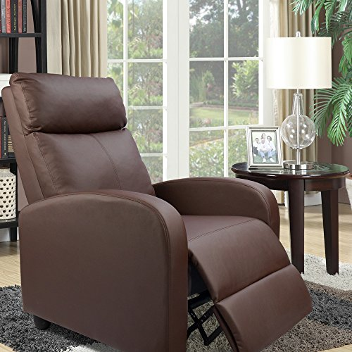 Devoko Adjustable Single Recliner Chair Pu Leather Modern Living Room Sofa Padded Cushion Manual