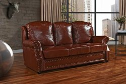 Leather Sofa 3 Seater, Living Room Couch with Nailhead Trim (Light Brown)