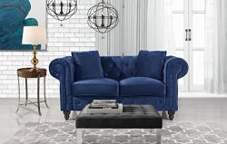 Divano Roma Furniture Classic Modern Scroll Arm Velvet Chesterfield Love Seat Sofa (Blue)