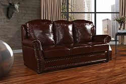Leather Sofa 3 Seater, Living Room Couch with Nailhead Trim (Dark Brown)