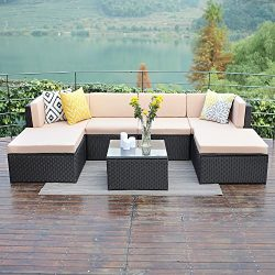 Wisteria Lane Outdoor Patio Furniture Sets,7 PCS Sectional Sofa Couch All Weather Conversation C ...