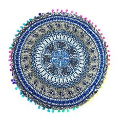 Indian Mandala Floor Pillowcases, Leyorie Colorful Round Bohemian Chair Cushion Pillows Cover Ca ...