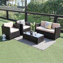Wisteria Lane 5 Piece Outdoor Patio Furniture Set, Sectional Conversation Set Wicker Sectional S ...