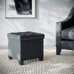 Nathan James 71101 Foldable Storage Ottoman Foot Rest and Seat with Feet, Cube, Payton