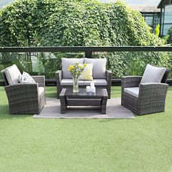 Wisteria Lane Outdoor Patio Furniture Set,5 Piece Sectional Sofa Couch Wicker Rattan Conversatio ...