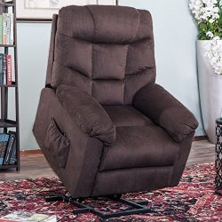 Harper&Bright Designs Power Lift Recliner Chair Soft Fabric Living Room Sofa Chair (Espresso ...