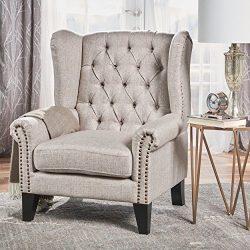 Christopher Knight Home 302085 Laird-Ckh Arm Chair, Beige + Dark Brown