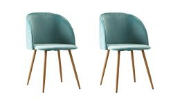 2 Piece Mid-Century Velvet Accent Living Room Chair Upholstered Club Dinning Chair (Turquoise)