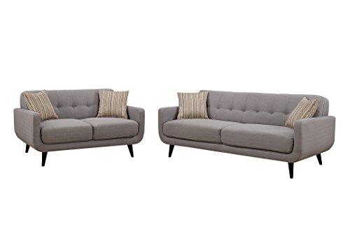 Christies Home Living 2 Piece Crystal Gray Sofa and Love Seat Room Set