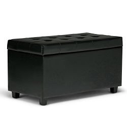 Simpli Home Cosmopolitan Faux Leather Rectangular Storage Ottoman Bench, Midnight Black