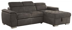 Homelegance Ferriday Modern Convertible/Adjustable Pull-Out Sofa Bed with Lift-Up Storage Chaise ...
